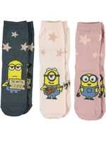 Strumpor 3-pack Minions, Kids, Rosa/grå, Name it